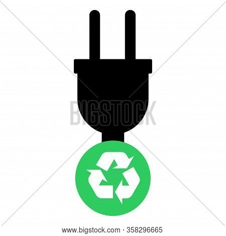 Electric Plug Vector Icon Isolated On White Background. Energy Adapter, Web Symbol