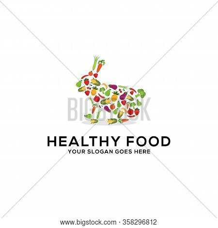 Healthy Food Logo Design Vector, Fresh Fruits And Vegetables Drawing Rabbit Abstract Illustration