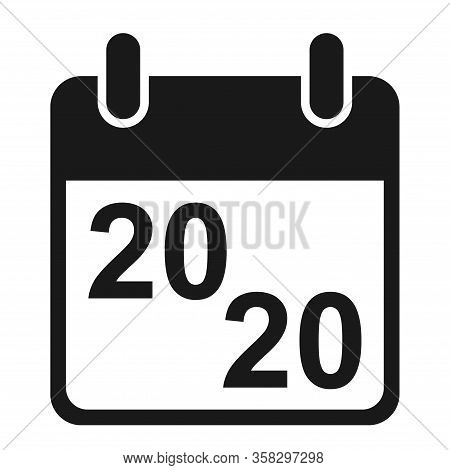 Calendar Icon, 2020 Date Event Symbol Isolated On White Background. Vector Web Button