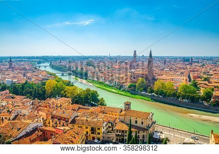 Aerial View Of Verona Historical City Centre, Bridges Across Adige River, Basilica Di Santa Anastasi