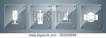 Set Diving Watch, Floating Buoy On The Sea, Aqualung And Gauge Scale. Square Glass Panels. Vector