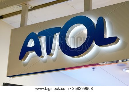 Bordeaux , Aquitaine / France - 11 24 2019 : Atol Shop Sign Store French Optician Glasses
