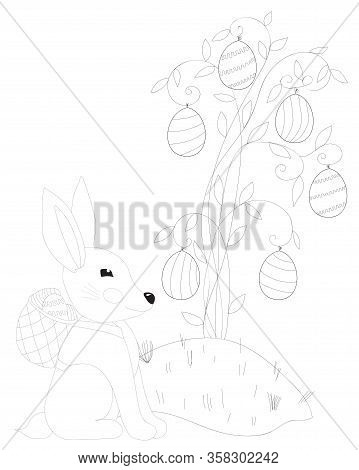 Easter Rabbit With Egg In Basket Coloring Page. Easter Bunny Coloring. Easter Coloring Card.