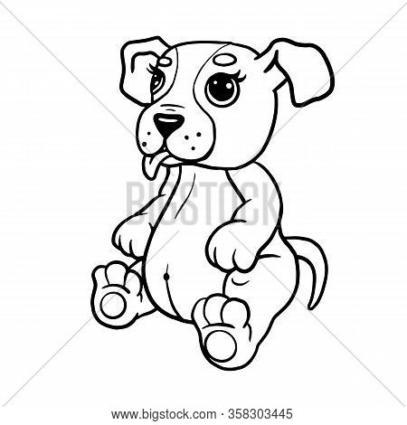Cartoon Puppy, Vector Illustration Of A Cute Dog