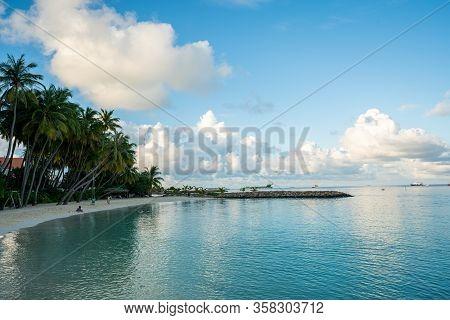 Beautiful Tropical Maldives Beach In Massfushi Island, Maldives