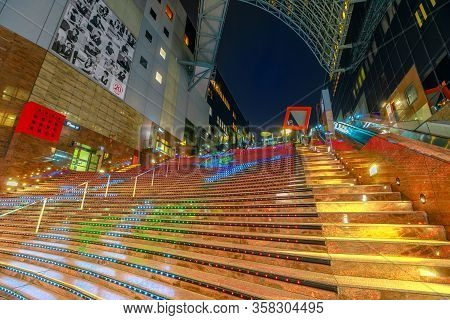 Kyoto, Japan - April 27, 2017: View From The Bottom To The Top Of Daikaidan Grand Stairway With Ligh