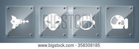 Set Astronaut Helmet, Astronaut Helmet, Alien And Ray Gun. Square Glass Panels. Vector