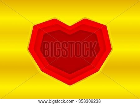 Heart Shape Red On Gold Background, Red Frame Shaped Heart On Golden Texture For Greeting Card Paper