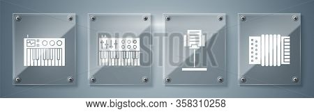 Set Musical Instrument Accordion, Music Stand, Music Synthesizer And Music Synthesizer. Square Glass