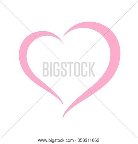 Heart Shape Pastel Pink Isolated On White Background, Heart-shaped Flat Icon Symbol, Pink Heart Shap