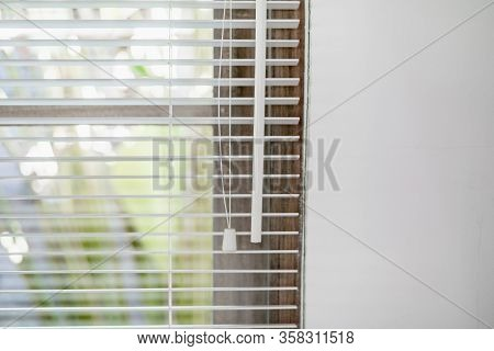 Sunlight Coming Through Venetian Louvers Blinds By The Window At Modern And White Room In Cozy House
