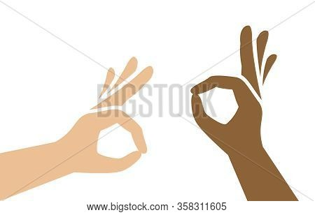 Ok Hand Sign Simple Isolated On White Background, Symbol Icon Ok Hand With Dark And Fair White Skin,
