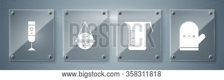 Set Oven Glove, Measuring Cup, Ball Tea Strainer And Blender. Square Glass Panels. Vector