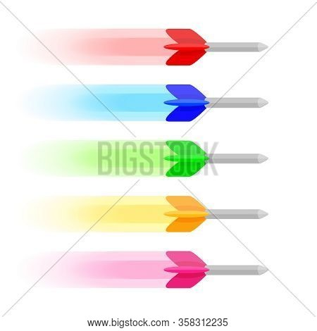 Target Arrow Isolated On White, Colorful Shooting Arrow Symbol Of Target Goal Success, Target Arrow