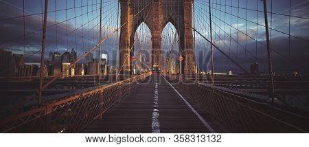 On The Brooklyn Bridge, Panoramic View, New York, Usa