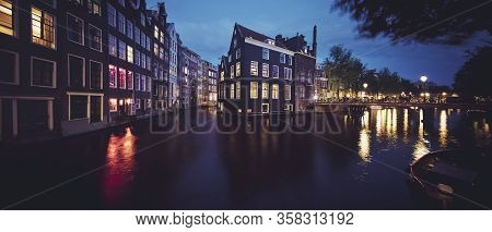 Panoramic View Of Amsterdam Canal, Holland, Europe