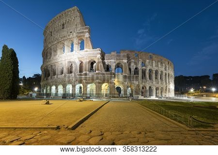 View Of  Colosseum By Night, Roma, Italy, Europe
