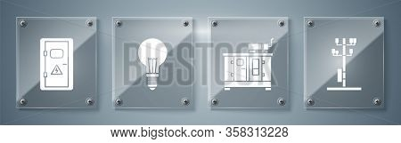 Set High Voltage Power Pole Line, Diesel Power Generator, Light Bulb With Concept Of Idea And Electr