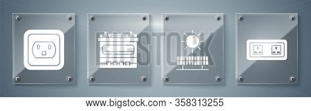 Set Electrical Outlet, Solar Energy Panel And Sun, Car Battery And Electrical Outlet In The Usa. Squ