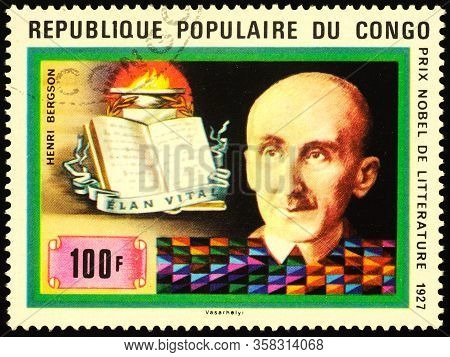 Moscow, Russia - March 29, 2020: Stamp Printed In Congo Shows Portrait Of Henri-louis Bergson (1859-