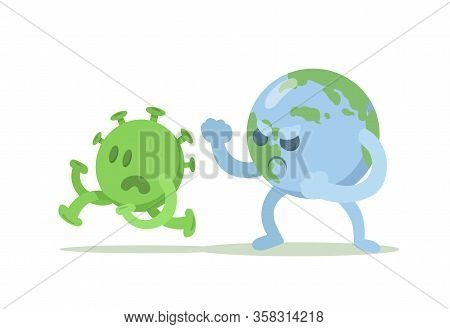 Earth Globe Wins Fight Against Coronavirus, Cartoon Style Composition. Fight Covid-19 Coronavirus, C