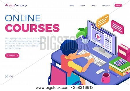 Online Education Or Distance Exam With Isometric Character Internet Course E-learning From Home Girl
