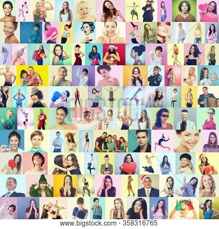 Diverse joyful persons of different age, gender and ethnicity.Collage of happy ecstatic gesturing happiness and success people on colored backgrounds. Human emotions, facial positive expressions