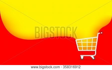 Banner Cart And Yellow Red Copy Space For Shopping Online, Icon Cart On Banner Template Ad Sale, Bas