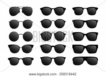 Set Of Modern Sun Glasses, Glasses With Black Glass.