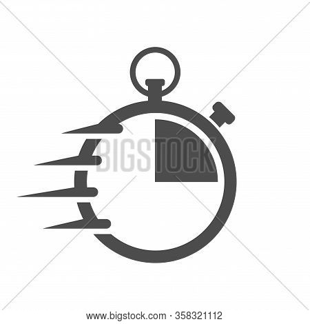 Fast Time Stopwatch Vector Icon For Web And Ui Design. Fast Delivery Concept. Fast Stopwatch Flat Ic