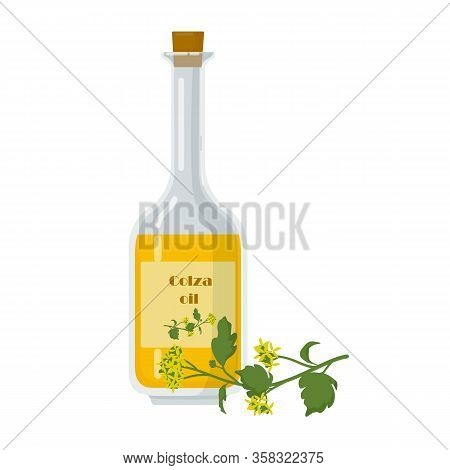Colza Oil In Bottle And Oilseed Rape