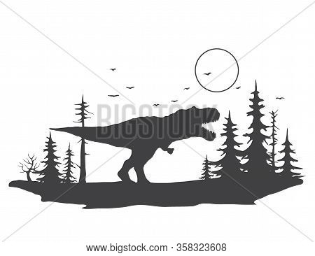Tyrannosaurus On The Background Of A Forest Landscape.vector Illustration