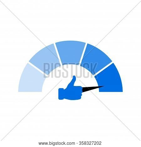 Indicate Socialization Isolated On White. Vector Thumb Up Indicator Report, Gauge Social Network, Me