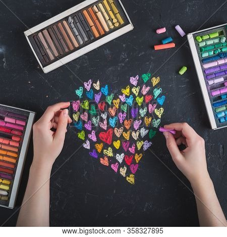 Valentines Day Card.colorful Hearts Painted With Chalk, Pastel On A Dark Background, Chalky Board.gi