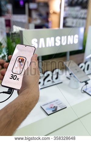 Belgrade, Serbia - February 21, 2020: New Samsung Galaxy S20 Mobile Smartphone Is Shown In Hand With