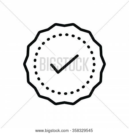 Black Line Icon For Advantage Quality Certified Approval Guarantee Check Ok Premium