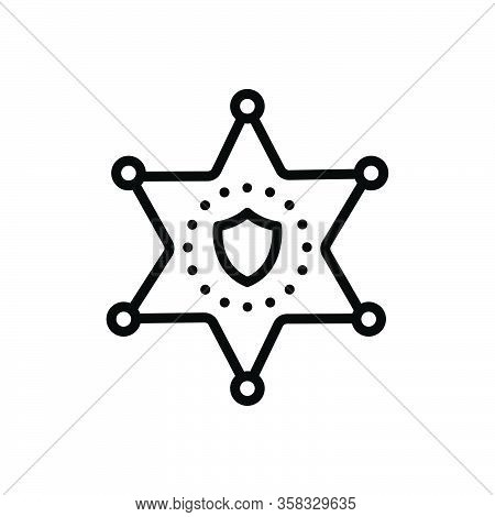 Black Line Icon For Deputy Sheriff Badge Star Authority Hexagram Decoration