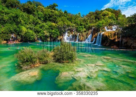 Great Beach And Touristic Place With Spectacular Waterfalls And Clean Lake, Krka National Park, Sibe