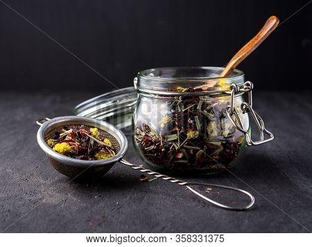 Herbal Tea In Glass Jar. Portion Of Tea