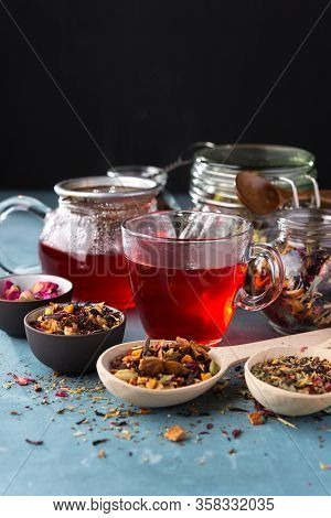 Fresh Fruit And Herbal Tea , Dry Leafs With Rose Petals. Summer Refreshing Drink.dark Mood.
