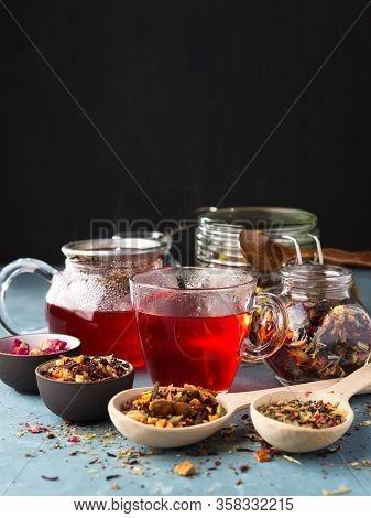 Fresh Fruit And Herbal Tea , Dry Leafs With Rose Petals. Summer Refreshing Drink.dark Mood.