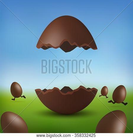Chocolate Egg 3d Happy Easter. Broken Brown Easter Egg, Running Eggs, Blurred Green Grass Field, Blu