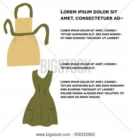 Vintage Apron Or Pinaphora. Cute Aprons Set With Text Isolated On White Background. Flat Cartoon Sty
