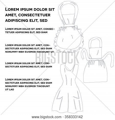 Vintage Black Line Art Aprons. Retro Aprons With Text Social Media Post Isolated On White Background