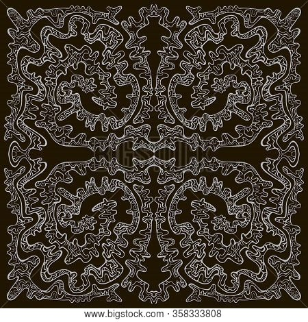Surreal Doodle Line Art With Maze Of Ornaments, White Outline Color, Isolated On Dark Background.