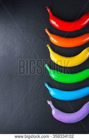 Lgbt Flag Concept On Dark Background, Symbol Gay Pride, Community, Bright Rainbow Gay Flag
