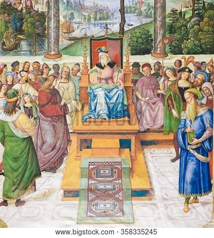 Siena, Italy - July 10, 2017: Frescoes (1502) In Piccolomini Library In Siena Cathedral, Italy, By P