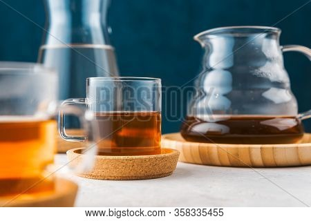 Alternative Coffee Brewing Method, Pure Over, Glass Teapot On Wooden Tray With Freshly Brewed Coffee