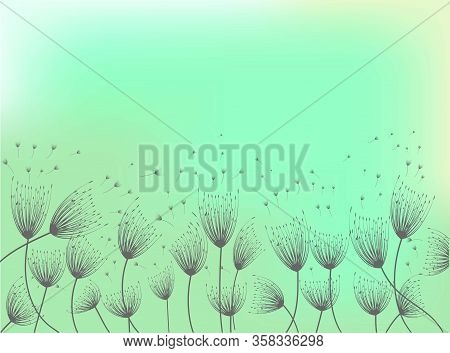 Dandelion Illustration. Light Background. Spring Blossom. Flower Pattern. Vector Illustration Backgr