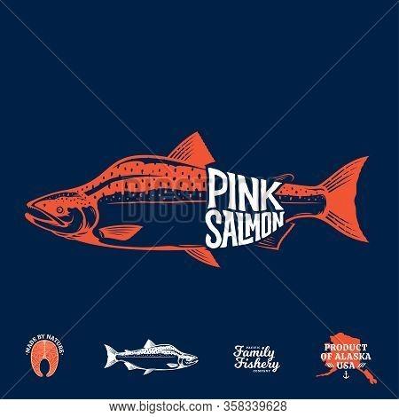 Vector Pink Salmon Label